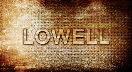 rusts: lowell, 3D rendering, text on a metal background Stock Photo