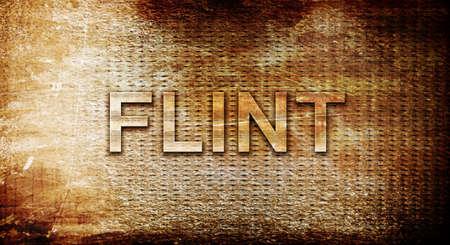 flint: flint, 3D rendering, text on a metal background