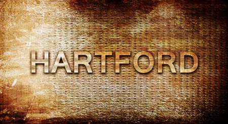 hartford: hartford, 3D rendering, text on a metal background
