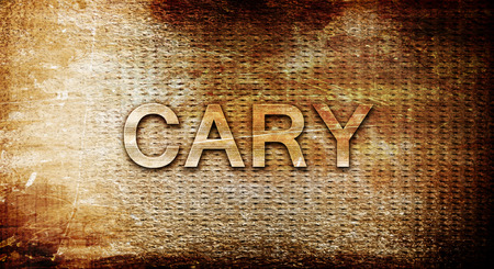 cary: cary, 3D rendering, text on a metal background Stock Photo