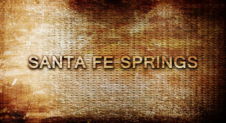 sante: sante fe springs, 3D rendering, text on a metal background Stock Photo