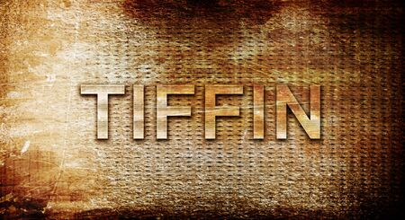 rusts: tiffin, 3D rendering, text on a metal background