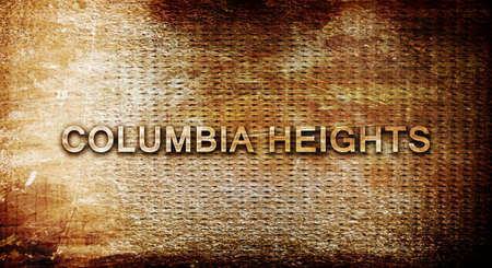 heights: columbia heights, 3D rendering, text on a metal backgroundnil
