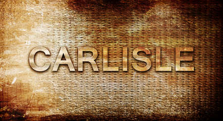 rusts: carlisle, 3D rendering, text on a metal backgroundnil Stock Photo