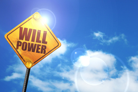 willpower: willpower, 3D rendering, glowing yellow traffic sign Stock Photo