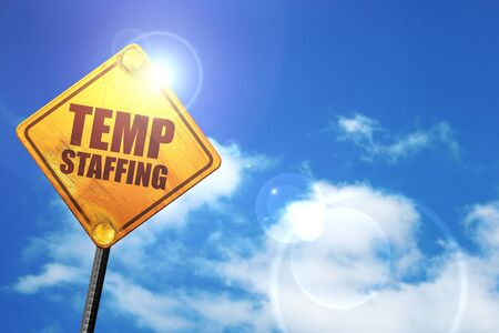 temp staffing, 3D rendering, glowing yellow traffic sign Stock Photo