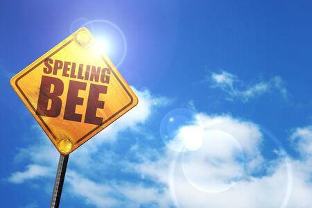 and spelling: spelling bee, 3D rendering, glowing yellow traffic sign