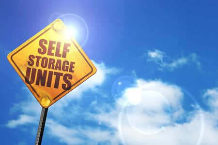 storage units: self storage units, 3D rendering, glowing yellow traffic sign
