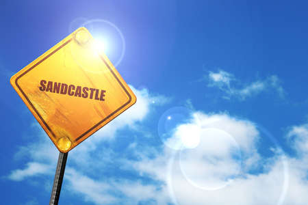 sandcastle: sandcastle, 3D rendering, glowing yellow traffic sign Stock Photo