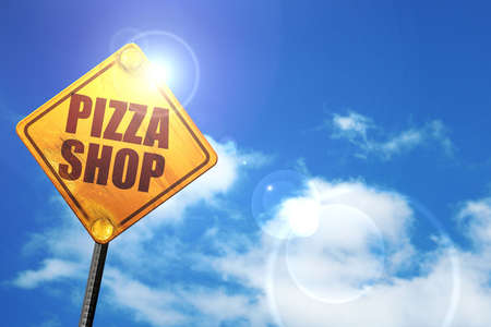 3d pizza: pizza shop, 3D rendering, glowing yellow traffic sign