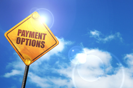 payment options, 3D rendering, glowing yellow traffic sign Foto de archivo