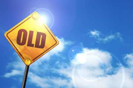 old sign: old, 3D rendering, glowing yellow traffic sign Stock Photo