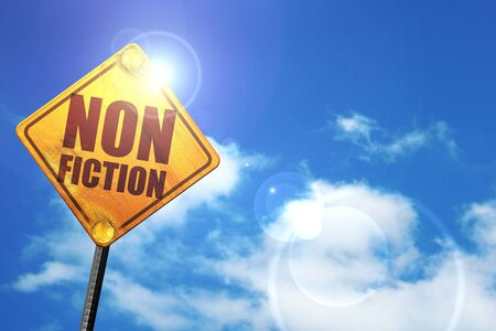 non: non fiction, 3D rendering, glowing yellow traffic sign