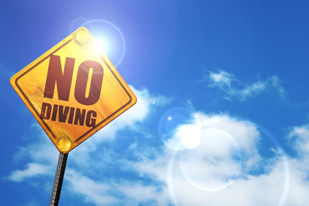 no diving sign: no diving, 3D rendering, glowing yellow traffic sign