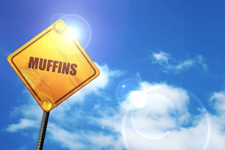 sky brunch: muffins, 3D rendering, glowing yellow traffic sign