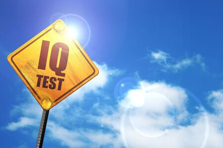 iq: iq test, 3D rendering, glowing yellow traffic sign Stock Photo