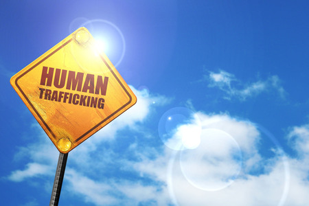 clandestine: human trafficking, 3D rendering, glowing yellow traffic sign