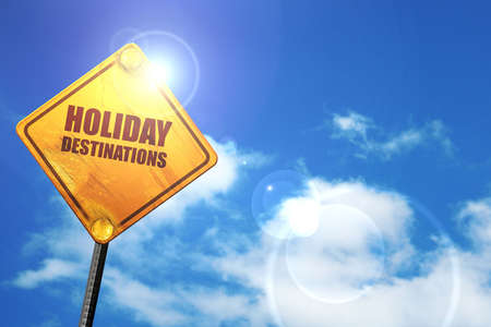 holiday destinations: holiday destinations, 3D rendering, glowing yellow traffic sign
