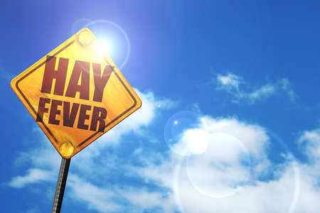 hayfever: hayfever, 3D rendering, glowing yellow traffic sign