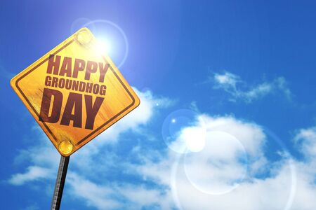 forecaster: happy groundhog day, 3D rendering, glowing yellow traffic sign Stock Photo