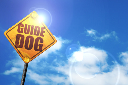 sightless: guide dog, 3D rendering, glowing yellow traffic sign