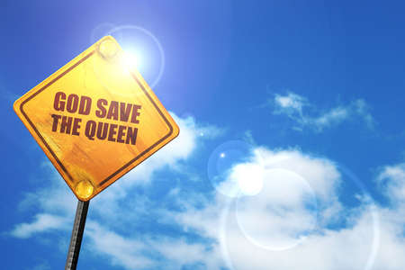 god 3d: god save the queen, 3D rendering, glowing yellow traffic sign Stock Photo