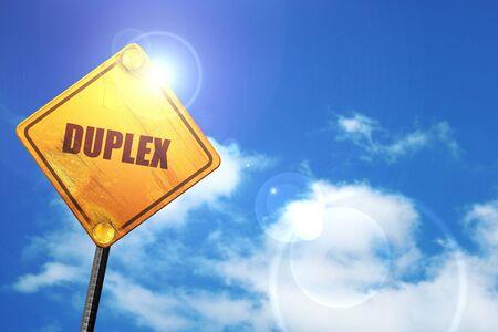 duplex: duplex, 3D rendering, glowing yellow traffic sign