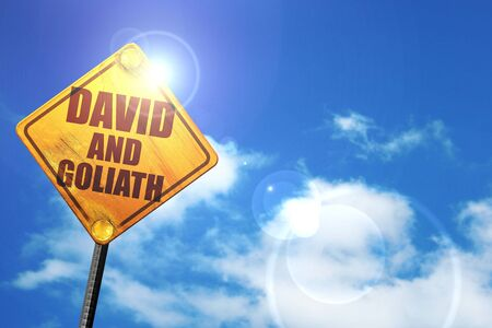 david and goliath: david and goliath, 3D rendering, glowing yellow traffic sign