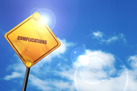 complications: complications, 3D rendering, glowing yellow traffic sign Stock Photo