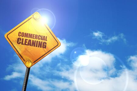 cleaning crew: commercial cleaning, 3D rendering, glowing yellow traffic sign Stock Photo