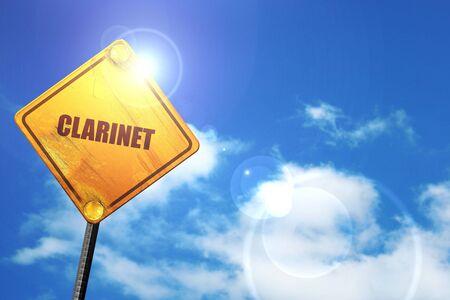 clarinet: clarinete, 3D, señal de tráfico amarillo brillante