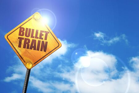 3d bullet: bullet train, 3D rendering, glowing yellow traffic sign Stock Photo