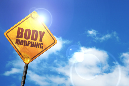morphing: body morphing, 3D rendering, glowing yellow traffic sign