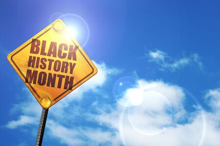 black history: black history month, 3D rendering, glowing yellow traffic sign