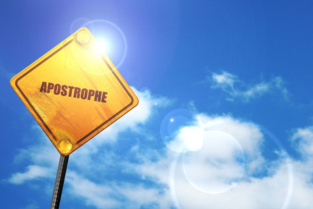 double page: apostrophe, 3D rendering, glowing yellow traffic sign
