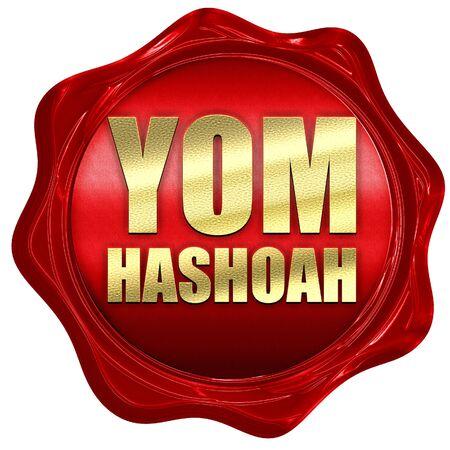 heroism: yom hashoah, 3D rendering, a red wax seal