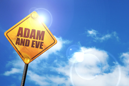 adam and eve: adam and eve, 3D rendering, glowing yellow traffic sign