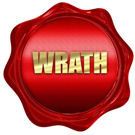 wrathful: wrath, 3D rendering, a red wax seal Stock Photo