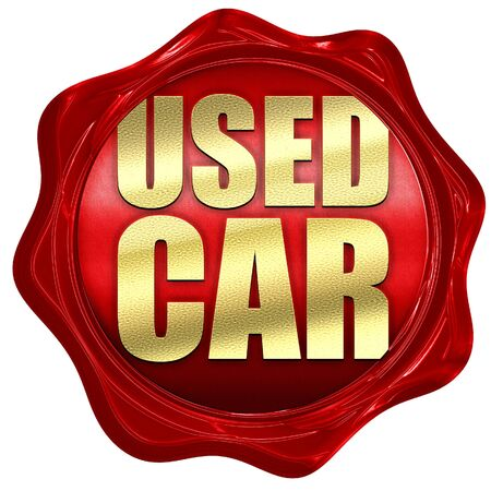 wax sell: used car, 3D rendering, a red wax seal