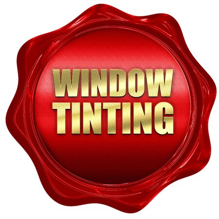 window seal: window tinting, 3D rendering, a red wax seal Stock Photo