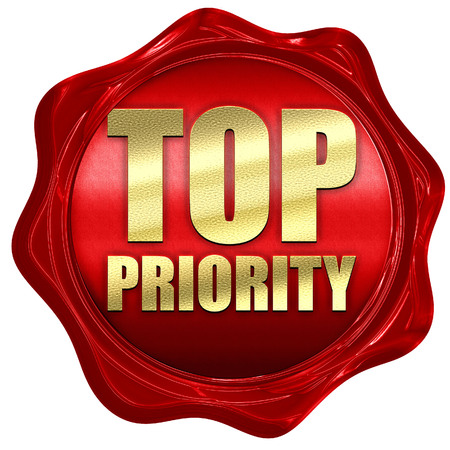 precedence: top priority, 3D rendering, a red wax seal