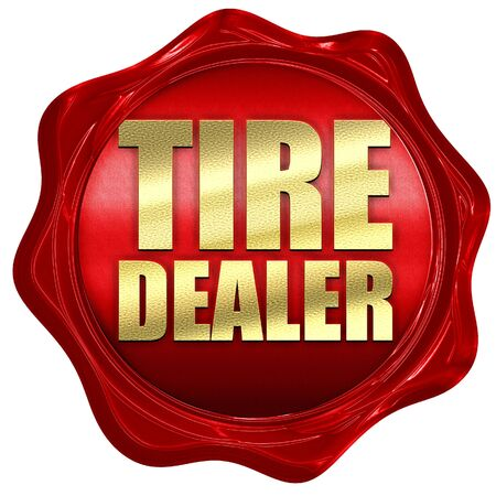 wax sell: tire dealer, 3D rendering, a red wax seal Stock Photo