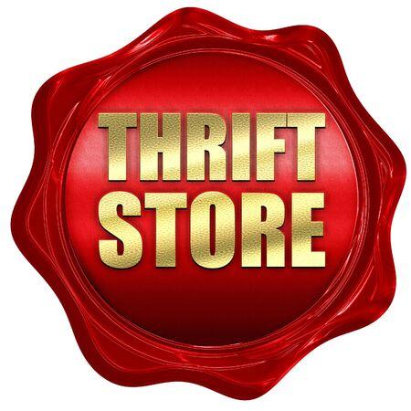 thrift: thrift store, 3D rendering, a red wax seal