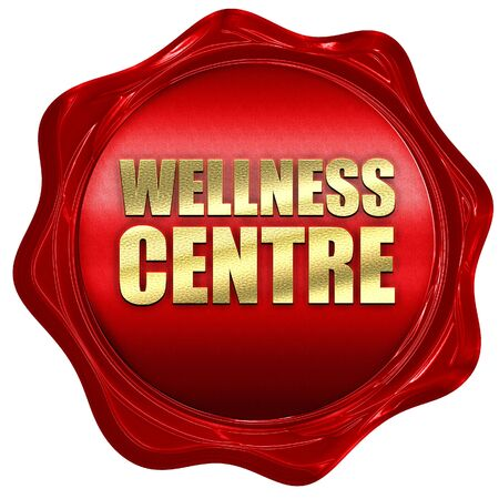 red centre: wellness centre, 3D rendering, a red wax seal