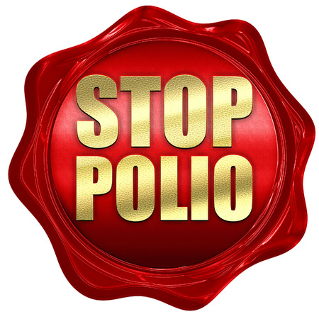 polio: stop polio, 3D rendering, a red wax seal