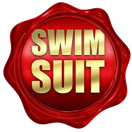 red wax: swimsuit, 3D rendering, a red wax seal