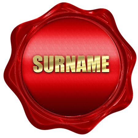 surname: surname, 3D rendering, a red wax seal Stock Photo