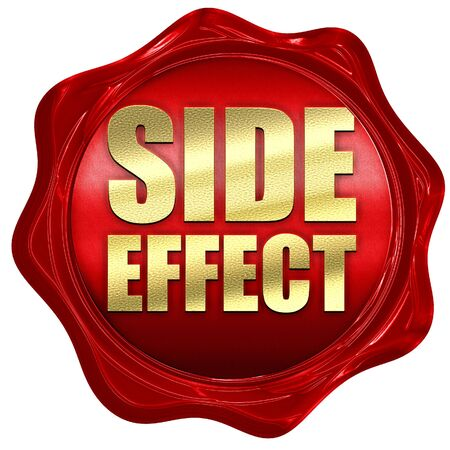 adverse reaction: side effect, 3D rendering, a red wax seal