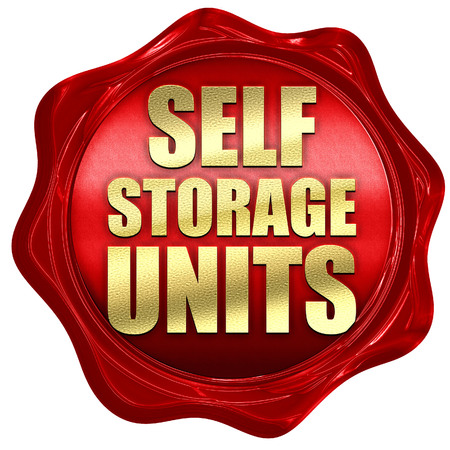 self storage: self storage units, 3D rendering, a red wax seal Stock Photo