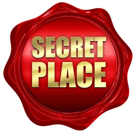secret place: secret place, 3D rendering, a red wax seal